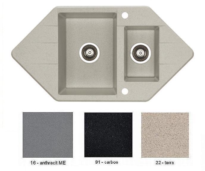 granitové dřezy ALVEUS Cubo 80 anthracit metalic